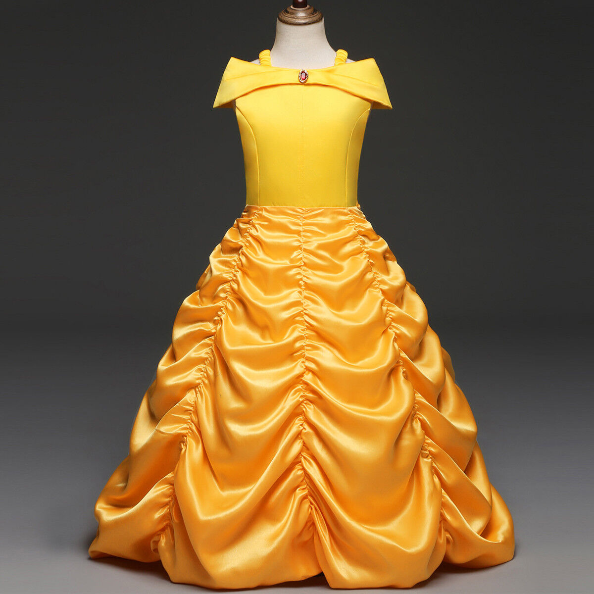 03989dd702b9c Details about Girls Princess Belle Dress up Beauty and The Beast Yellow  Party Cosplay Costume
