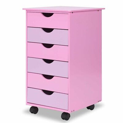 6-drawer Wooden Rolling Organizer Mobile File Cabinet