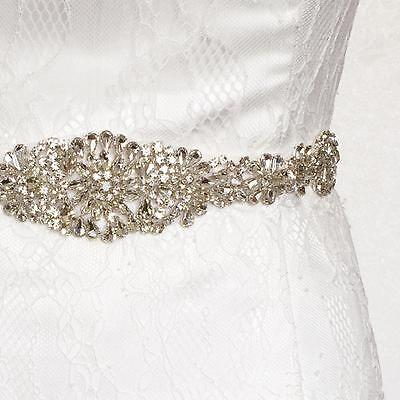 Vintage Crystal Rhinestone Sash Belt Beaded Bride Wedding Dress Gown Sash Belt - Wedding Dress Sash