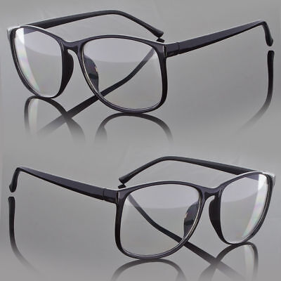 Designer Large Retro Clear Lens Nerd Frames Glasses Men Women Eyewear (Large Clear Glasses)