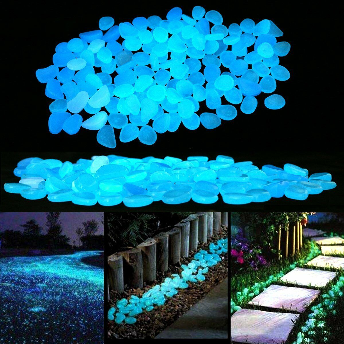 100x Large Pebbles Stone Home Garden Walkway Aquarium Fish Tank Glow in the Dark