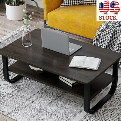 2 Tier Wood Coffee Tea Table Sofa Side Table Shelf Living Room Steel Pipe Home