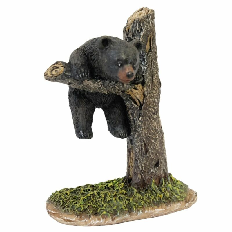 Black Bear Danging From Tree Figurine 6 inches
