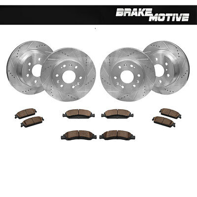 Front+Rear Rotors Ceramic Brake Pads For Escalade Chevy Avalanche Tahoe Yukon