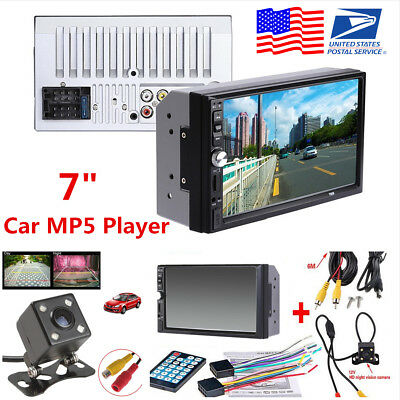 "7"" HD 2DIN Car MP5 MP3 Actress Bluetooth Touch Screen Stereo Radio FM AUX +Camera"