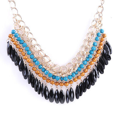 Fashion Pendant Chain Crystal Choker Chunky Statement Bib Necklace Jewelry