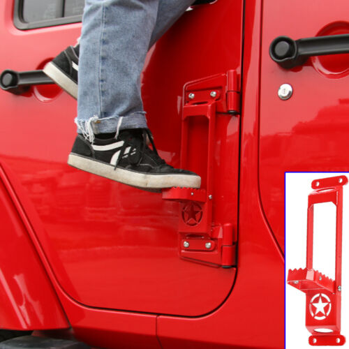 2 Pcs Car Door Hinge Side Foot Pedal Step Foldable Red Metal For Jeep Wrangler