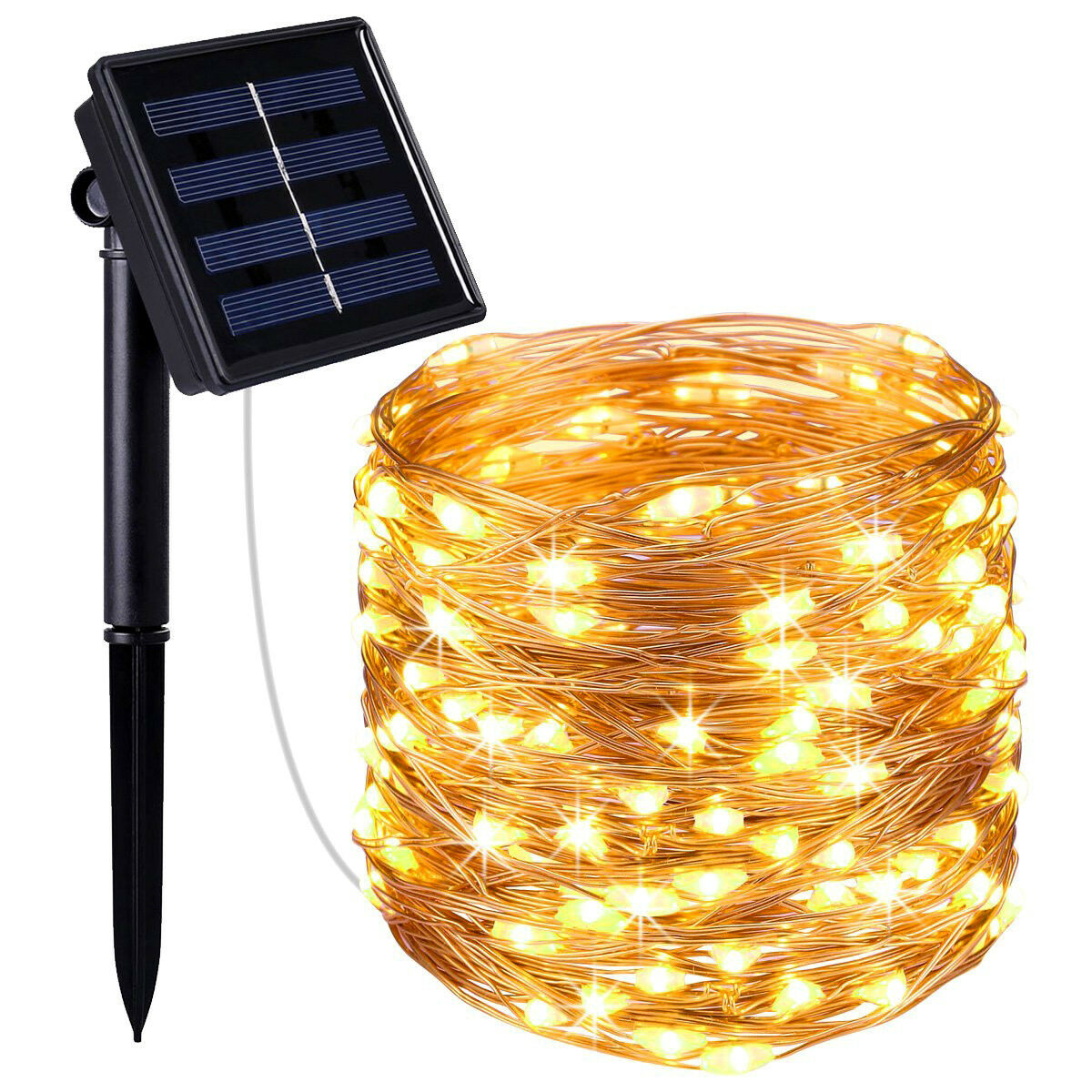 Outdoor Solar Powered 20M 66Ft 200 LED Copper Wire Light String Fairy Xmas Party