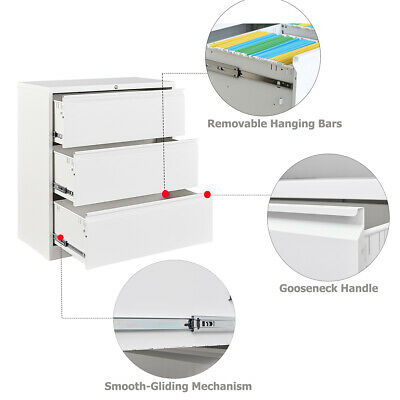 Metal Steel Cabinet With 3 Drawers Lockable For Home Office Lateral File Storage