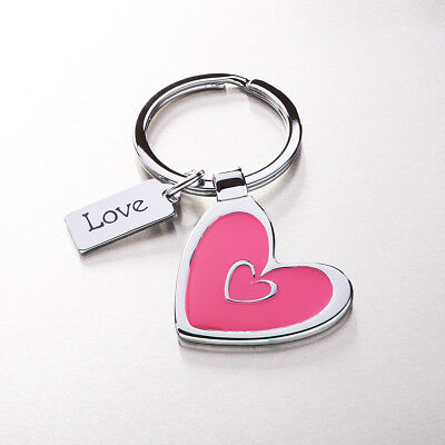 """Heart Pink Key Ring with """"Love"""" Charm"""