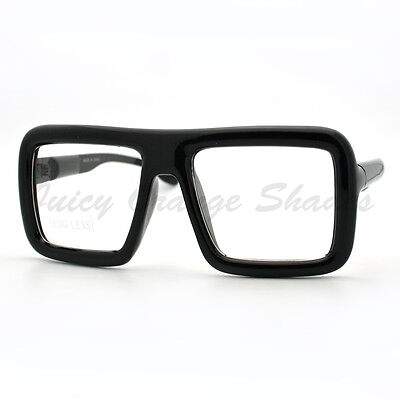 Thick Square Glasses Clear Lens Eyeglasses Frame Super Oversized (Thick Square Glasses)