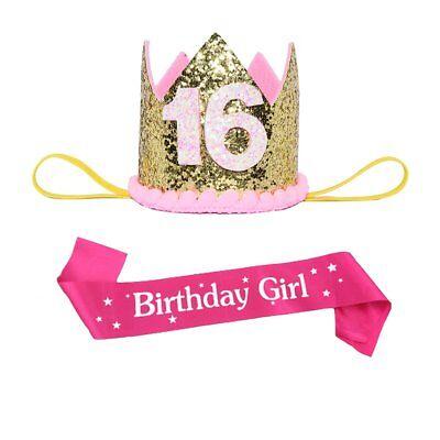 Maticr Sweet Sixteen 16 Crystal Crown and Sash 16th Birthday Girl Party - Birthday Crown And Sash