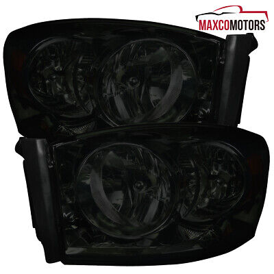 Smoke For 2006-2008 Dodge Ram 1500 2500 3500 Headlights Turn Signal Lamps L+R