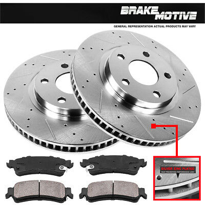 FRONT Drill And Slot BRAKE ROTORS & CERAMIC Pads For 2004 - 2009 Audi S4