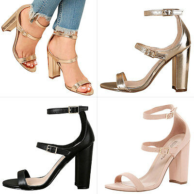 Womens Open Toe Ankle Triple Buckle Strap Mary Jane Chunky High Heel Pump Sandal