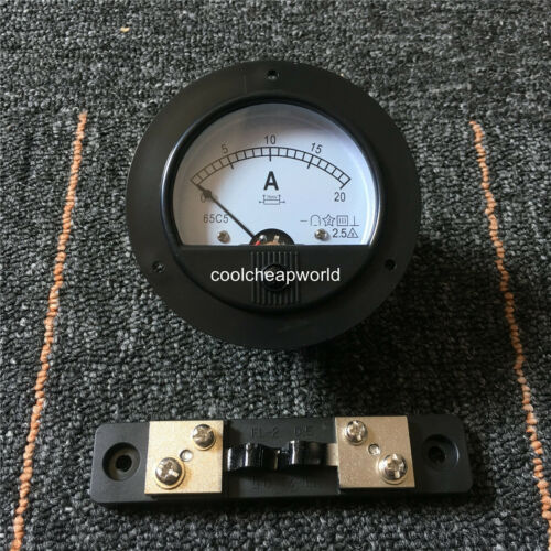 62C2 DC 20A Round Analog Amp Panel Meter Current Ammeter 0-20A with 75mV Shunt