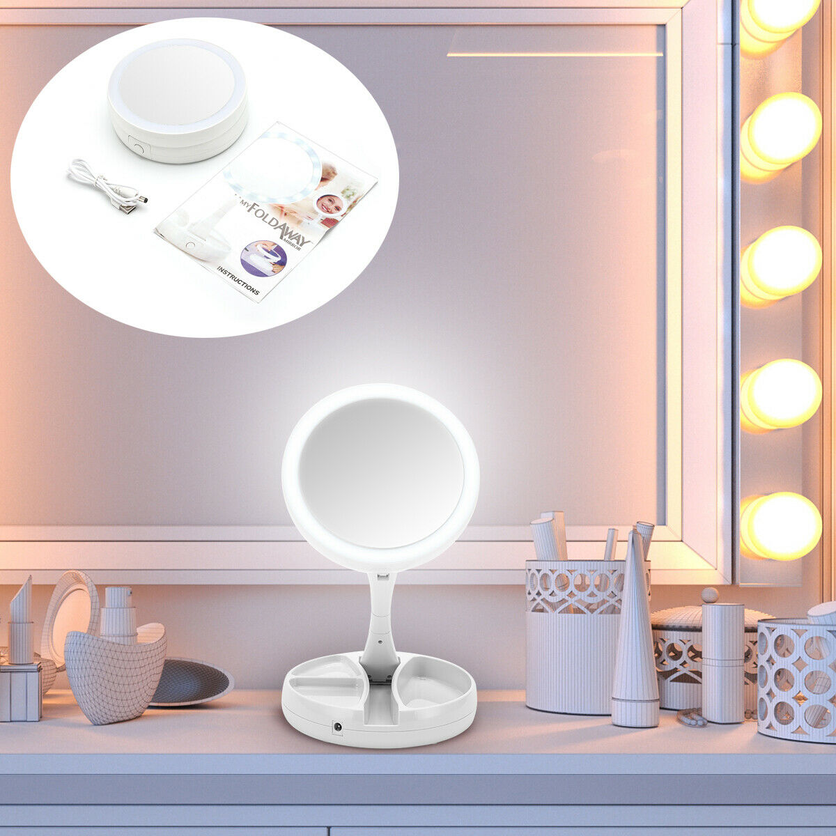 LED Light 10X Magnifying Makeup Mirror Beauty Stand Double S