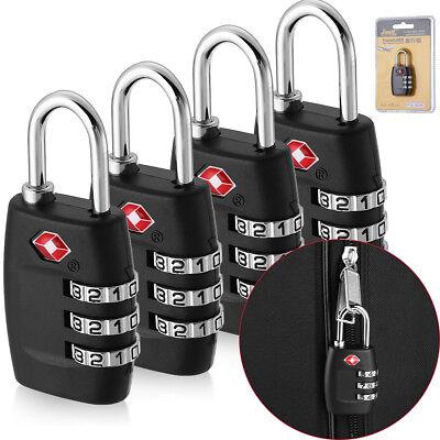 4x TSA Approved Luggage Lock Travel 3 Digit Combination Suitcase Padlock Alert