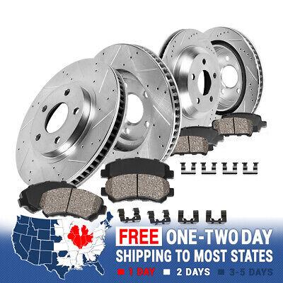 Front & Rear Drill Slot Brake Rotors And Ceramic Pads For 93-97 Camaro Trans Am Firebird Rear Brake Rotor
