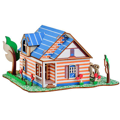 Assembly DIY Education Toy 3D Wooden Model Puzzles Colorful Maple House Villa - Maple Educational Puzzle