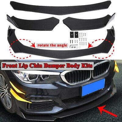 Universal Carbon Fiber Look 3Pcs Car Front Lip Chin Bumper Body Spoiler Splitter