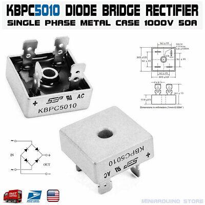 Kbpc5010 Diode Bridge Rectifier Single Phase Metal Case 1000v 50a Usa