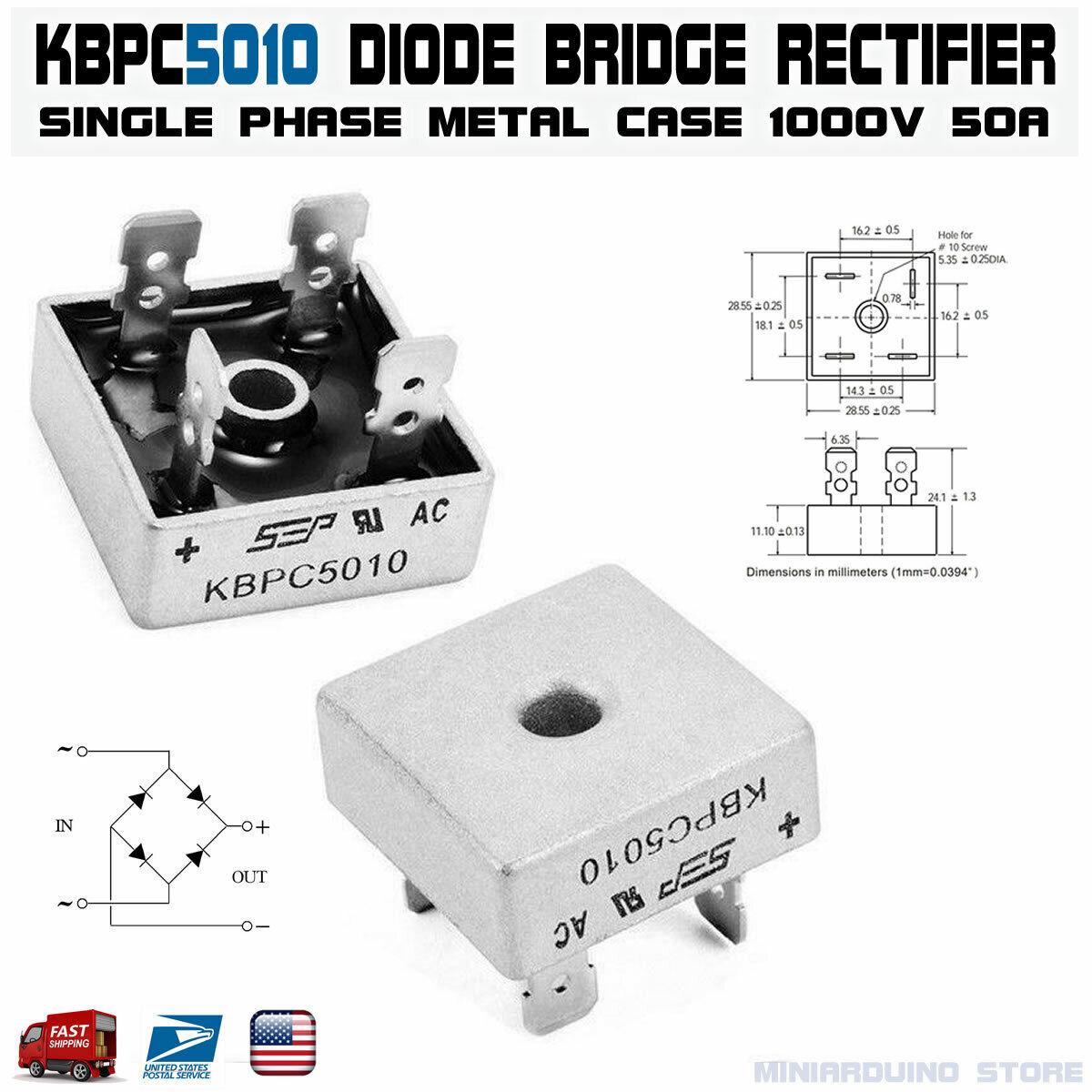 2pz Bridge diodes 50a 1000v KBPC 5010 Rectifier Single Phase with Faston