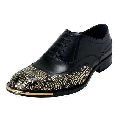 Versace Men's Black Beaded Lace Up Oxfords Shoes Sz 7 8 8.5 9