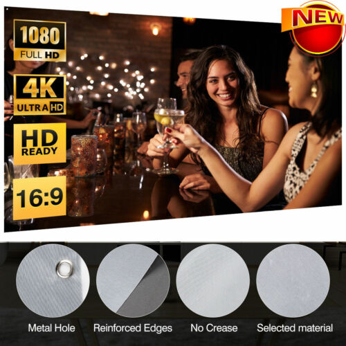 """100"""" UHD 3D 4K Movie Portable Projector Screen Outdoor Home"""