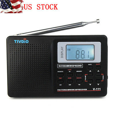 TIVDIO MW/ FM/ SW Portable Stereo DSP Radio Full Band World Receiver Clock Alarm