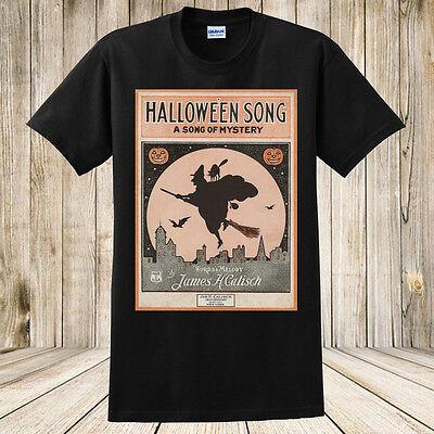 New Halloween Song T-Shirt Antique Sheet Music Spooky Halloween Witch Black Cat