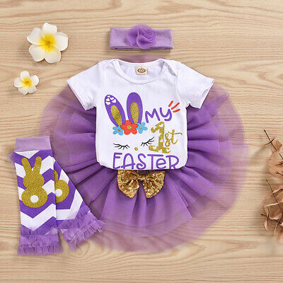 US My 1st Easter Newborn Baby Girl Clothes Tops Romper Tutu Skirt Outfits 4PCS