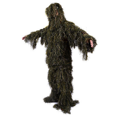 Ghillie Suit XL/XXL Camo Woodland Camouflage Forest Hunting 4-Piece + Bag