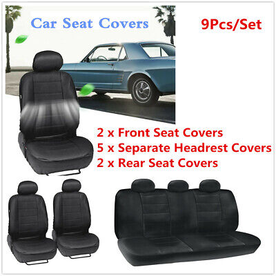 Breathable 9Pcs PU Leather Car Seat Cover Protector Cushion Airbag Compatible