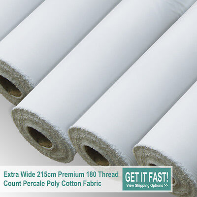 """White Sheeting Fabric Poly Cotton Sheeting Fabric 94"""" 240cm Wide 10 Meters Roll"""