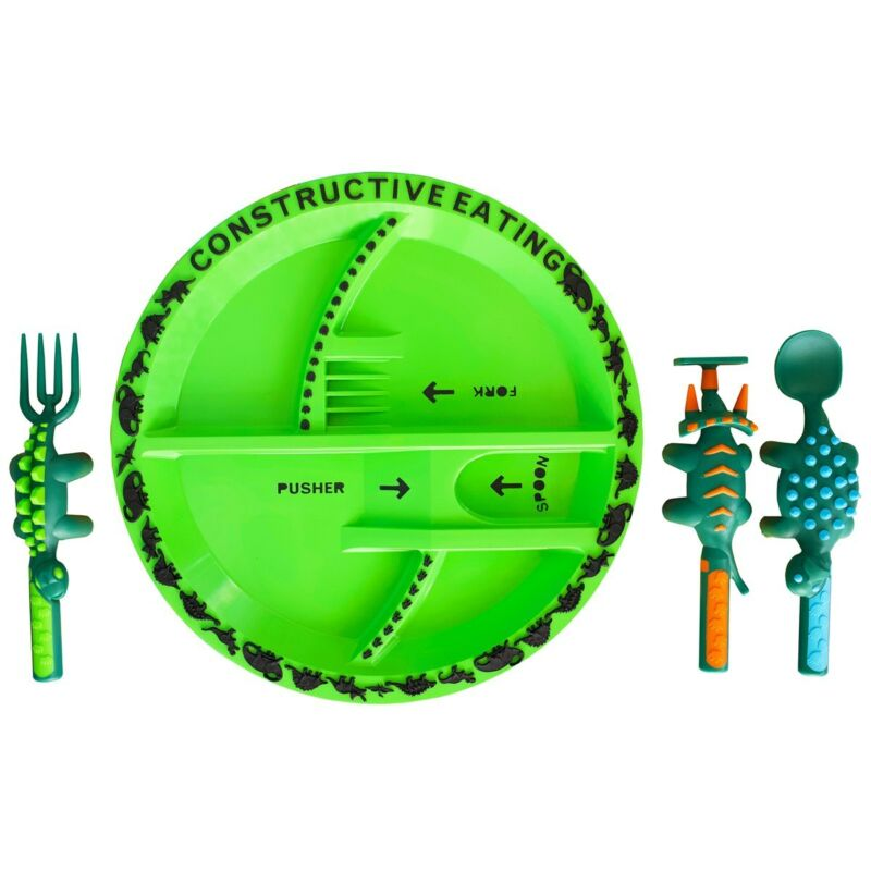 Constructive Eating Dino Plate with Fork, Spoon, and Knife