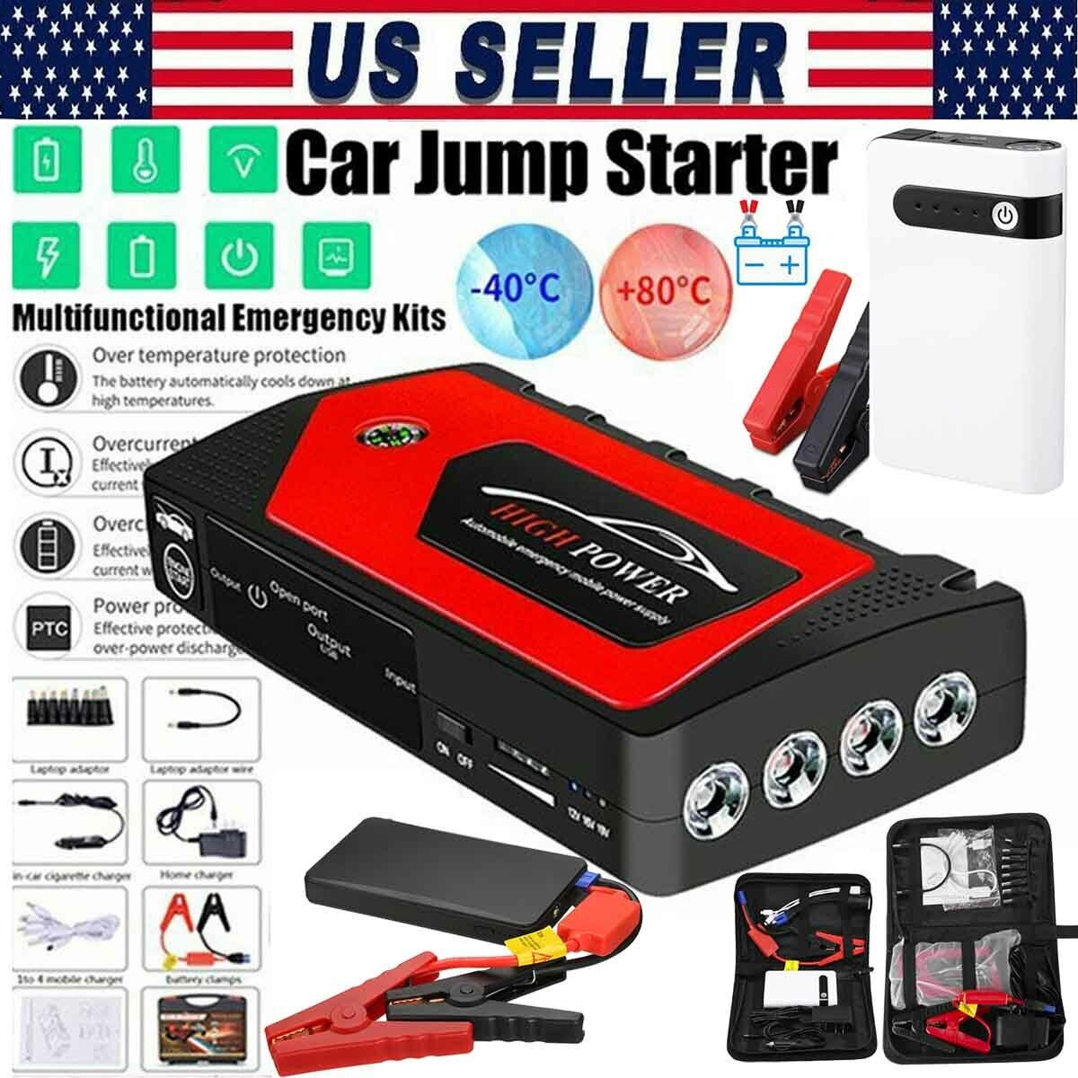 20000/69800mAh 12V Car Jump Starter Portable Power Bank Battery Booster Charger