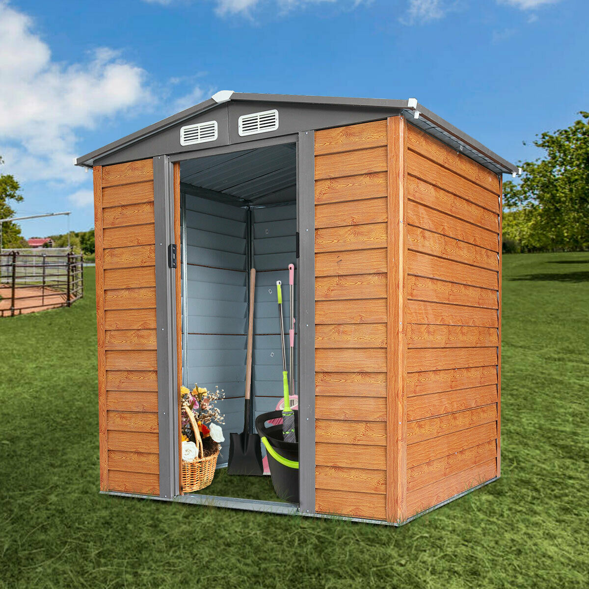 5 x 6FT Outdoor Storage Shed Tool House Box Steel Utility Backyard Garden Lawn