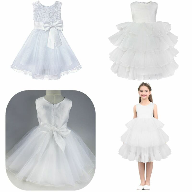 Girls Flower Lace Dress Bowknot Wedding Bridesmaid Party Christening Tutu Gown