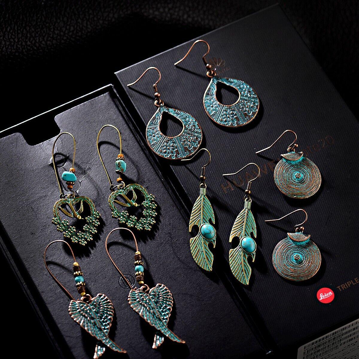 5 Pairs/set Vintage Boho Earrings Dangle Pendant Earrings Lo
