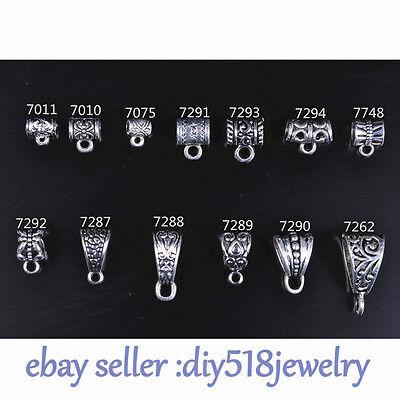 20pcs bail Pendant Charm silver diy jewelry making Bracelet necklace 13 style`