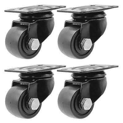 4 Pack 1.5 Inch Low Profile Black Heavy Duty Polyurethane Casters Wheels