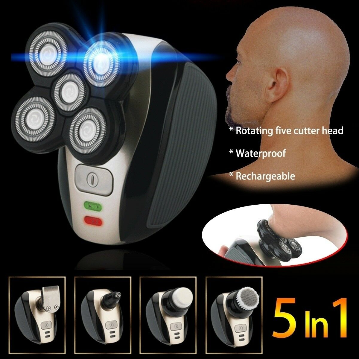 5 IN 1 4D Rotary Razor Floating Head Electric Shaver Bald Be