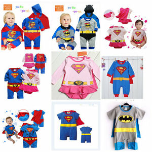Baby-Toddler-Fancy-Dress-Party-Superman-Costumes-Playsuit-Size-3-24months