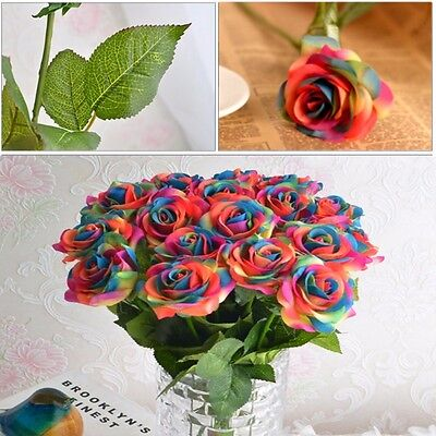 Rainbow Single Stem Rose Artificial Flower Wedding Party Bridal Bouquet - Rainbow Flower