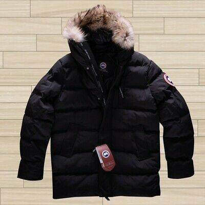 CANADA GOOSE MENS WINTER JACKET BLACK KNEE LENGHT HOODED WARM L SIZE