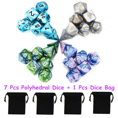 7Pcs Set Acrylic Polyhedral Dice with Bag DND RPG MTG Role Playing Board