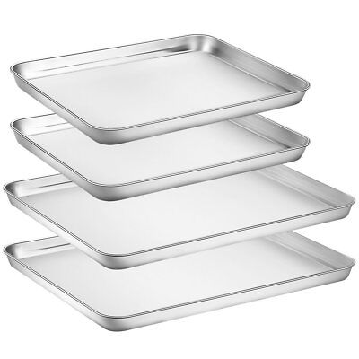 Large Baking Sheets Sets, HKJ Chef Baking Pans For Oven  Stainless Steel Cookie