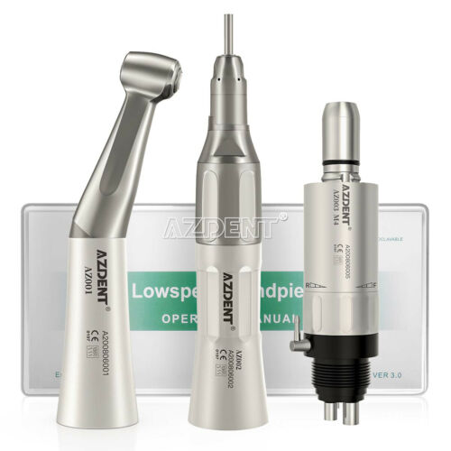 US Dental Slow Speed Handpiece Contra Angle Straight Air Motor 4H Kit NSK Style