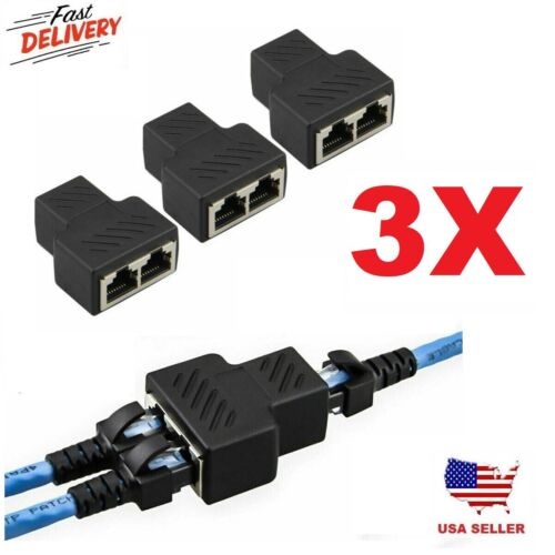 3pc RJ45 CAT5 6 Ethernet cable LAN Port 1 to 2 Socket Splitter Connector Adapter
